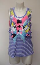 Women Sleeveless Tank Top Graphic Shirt Sheer Blue Medium Pink Tube Top
