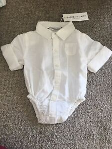 NEW Janie and Jack White Bodysuit OnePiece Baby Boys 0 - 3 Months  Button Front