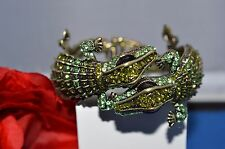 Kenneth Jay Lane Double Head GREEN Alligator Bracelet Rare Pave Crystals