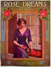 """Rose Dreams"" Reverie by A.J.Stasny 1914 Antique Sheet Music Starmer Art"