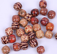 100pcs mix color wood big hole Charm beads 12mm