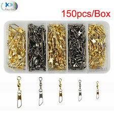 150Pcs Fishing Barrel Swivels with Safety Snap Saltwater Accessories Connectors