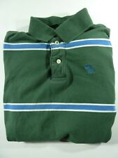 Abercrombie & Fitch Men Muscle Polo Long Sleeve Striped Green/Blue Shirt Medium