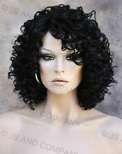Human Hair Blend wig Curly Soft Off black Heat Safe WBCO 1B