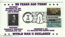 A LOVELY COVER FROM THE USA. 1991 50th ANNIVERSARY OF USA DECLARATION OF WAR