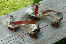Vintage  Union Adjustable Metal Roller Skates Leather Straps