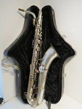 1917 Antique Conn USA Baritone Saxophone - Silver with Original Case