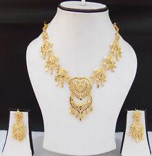 Ethnic UK Indian Fashion Jewelry 22k Gold Plated Wedding Necklace Earrings Set
