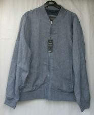 Men's Marks and Spencer Limited Blue Mix Small Check Linen Rich Jacket Size XL