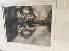 "NONPAN ""BRUGES PRINT MIRROR IMAGE Of HOUSE On WATER"" Wood Frame Vintage Art"