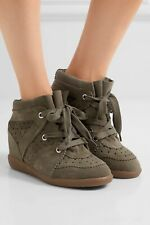 NEW Isabel Marant Etoile Bobby Suede Wedge Sneakers Size EU 41 Olive Color