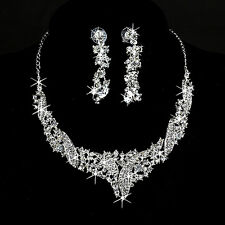 Elegant Wedding Bride Party Prom Crystal Rhinestone Necklace Earring Jewelry Set