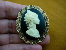 + black Cameo brass Pin Pendant brooch cm186-1) Spiky fern rose hair Woman ivory