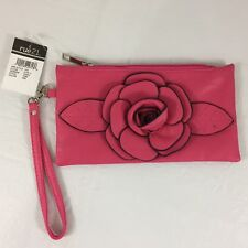rue 21 Leather Clutch Purse Bright Pink Flower Detachable Strap Soft Zipper NWT