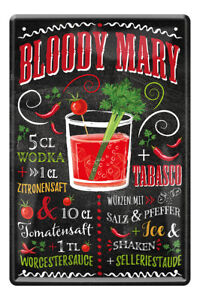 Bloody Mary Cocktail Drink Zutaten Rezept Retro Deko Blechschild 20x30cm A0590