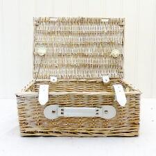 White Wash Wicker Storage Basket - Approx 38 x 25 x 16 cm