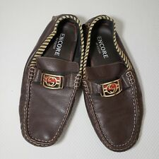 Encore By Fiesso 9 Chocolate Brown Pebbled Leather Driving Shoe Loafer Slip On