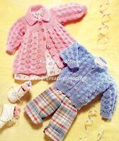(258) DK Knitting Pattern for Baby Boys Girls Cardigan & Matinee Jacket
