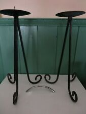 2 tall black metal candlesticks/candle holders