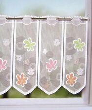 Scheibengardine 45x130 cm Bistrogardine weiss mit bunten Blumen