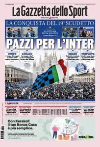 GAZZETTA DELLO SPORT 03/05/2021 FC INTER CAMPIONE D'ITALIA 2021 SCUDETTO N°19
