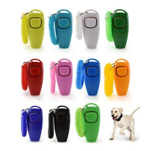 2 In 1 Pet Clicker Dog Training Whistle Answer Pet Trainer Guide With Key R YH
