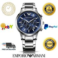 NEW EMPORIO ARMANI AR2448 Mens Stainless Steel Blue Chronograph  2 YEAR WARRANTY
