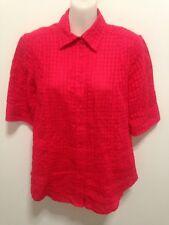 Perri Cutten Red Check Linen Blend Shirt Size 10 - EUC