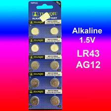 10 x LR43 Battery (AG12/186) 1.5V Alkaline Batteries FREE Quick Post