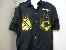 COOGI Hawaiian Style Shirt, S/S, XL, Black with Epaulettes & Gold Buttons