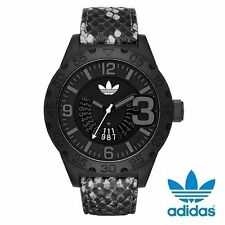 BRAND NEW ADIDAS ORIGINALS ADH3042 NEWBURGH GRAY & BLACK CROC LEATHER MENS WATCH