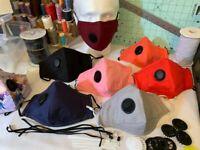 Handmade Face Mask Respirator with 2x HEPA Filters, Vent Valve & Nose Bridge.