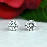2 Ct Forever Moissanite Solitaire Stud Earrings 14k White Gold Excellent Round