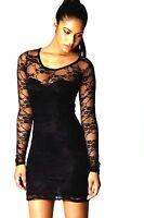 NEW WOMEN LADIES BLACK FLORAL LACE DRESS TOP SIZE 6,8,10,12,14,16,18,20-22,24-26