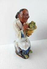 "Vtg Chinese Mudman Clay Figurine 6"" Imprint China - Pooled Glaze - Hand Molded"