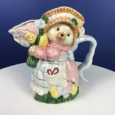 Fitz & Floyd Omnibus Bear Floral Flower Bouquet Pitcher Vase with Handle 1.25 Qt
