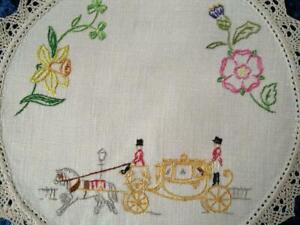 Wonderful Golden Carriage/Horses/UK Flowers Vintage Hand Embroidered Doily