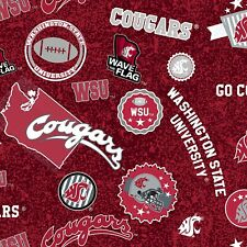 College Cotton Washington State U Cougar Fabric by Sykel Red Sold by 1/2 Yd