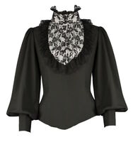 Black Gothic Victorian Steampunk High Neck Ruffle Vamp Lace Blouse Shirt Top