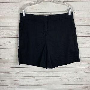 Theory Women's City Shorts 2 Size 10 Black Linen Blend