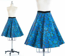 Vintage 1950s 50s Rockabilly Floral Quilted Circle Swing Skirt