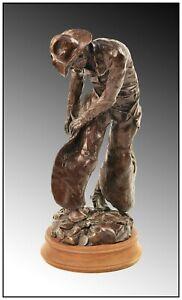 James Asher Buttoning Up Original Western Bronze Sculpture Signed Cowboy Artwork