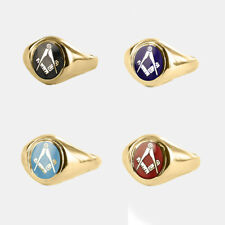 9ct Gold Masonic ring Square and compass Craft (Red, Blue,Black,Light blue)