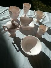 Jeanette Shell PInk Milk Glass Lot Of 8 PEICES *VINTAGE *