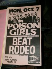 "Poison Girls UK Beat Rodeo NY Exclusive 14"" Show Flyer/ Poster I-Beam SF 1985"