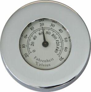 Maritimer Briefbeschwerer mit Thermometer, Messing verchromt, 5 cm.