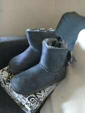 Girls Grey Faux Suede Bow Boots Size 12 (30)