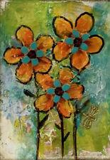Artist Trading Cards ACEO Original Painting Orange Flowers Miniature Art