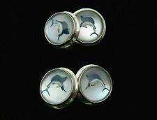 Vintage Essex Crystal 18K White Gold Marlin Fish Cuff Links
