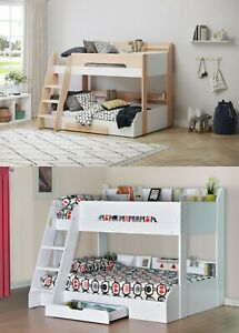 Wooden Bunk Bed Frame Triple Bunk White Oak Shelving Storage Childrens Flick